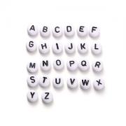 Letter Kralen Wit 7mm  Acryl