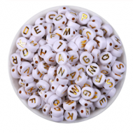 Letterkralen Wit met Goud 100x
