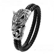 Lederen Wolf Armband Stainless