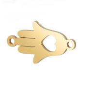 Tussenstuk Rvs Hand Hart goud