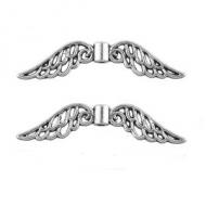 Kraal Vleugels 32x6mm Zilver
