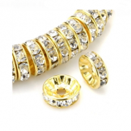 Spacer 8mm Strass Goud