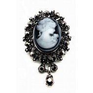 Broche Cameo Lady met strass