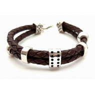 Lederen Heren armband -  Bruin