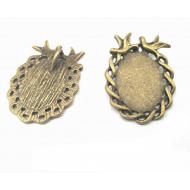 Bronzen Setting/Kastje voor foto of Cabochon - Vogel