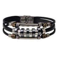 Armband-Heren-Leer-Hematiet