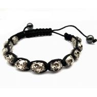 Heren Armband verstelbaar - Skull -Doodshoofd - zilverkleur