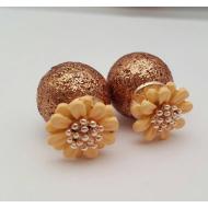 Dubbele Dots oorbellen - Bloemen - Goud