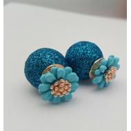 Dubbele Dots oorbellen -Bloemen- Blauw