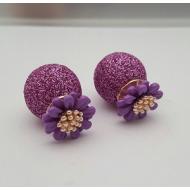 Dubbele Dots oorbellen - Bloemen Paars