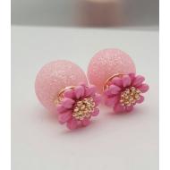 Dubbele Dots oorbellen - Bloemen - Roze