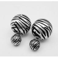 Dubbele oorbellen - Zebra