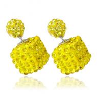 Dubbele oorbellen -vierkant crystal- geel