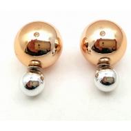 Dubbele Dots oorbellen - goud & zilver