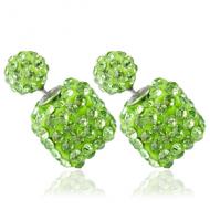 Dubbele oorbellen vierkant crystal - Zacht groen