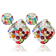 Dubbele oorbellen -vierkant crystal -Multi-color