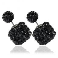 Dubbele vierkant crystal oorbellen - zwart