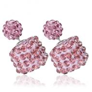 Dubbele oorbellen vierkant crystal- Roze