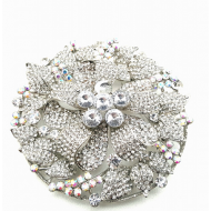 Broche rond  bezet met Swarovski kristallen  #35