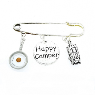 Omslagdoek Speld Happy Camper