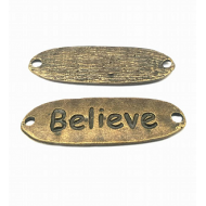Bronzen connector  met tekst : Believe