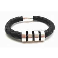 Zwart lederen armband - Heren - 8mm
