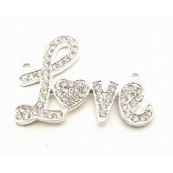 Connector  Love  -met strass - zilver