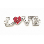 Connector Love hart met strass