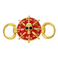 Goudkleur Connector Skull- Doodshoofd Piraat -Rood