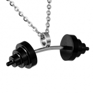 Ketting met hanger Stainless steel  Dumbbell - gewicht sport