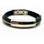 Heren Rubberen armband met staal en stainless steel