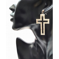 oorbellen kruis met strass-stenen