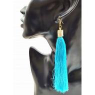 Oorbellen Zijden Turquoise Kwast