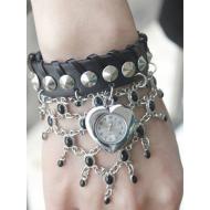 Horloge studs zwart Heart