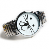 Horloge-Poes/Kat-Stretch-goud/zilver