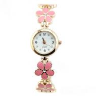 Horloge Bloem goud Roze