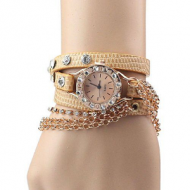 Horloge-goud-ketting-bruin