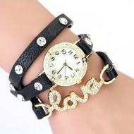 Horloge-goudkleur-strass-Love-Zwart