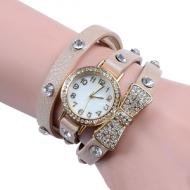 Horloge-goudkleur-strass-Strik-Nude