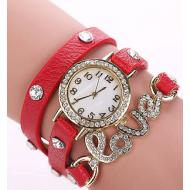 Horloge-goudkleur-strass-Love-Rood