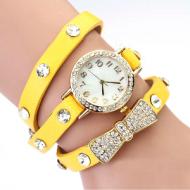 Horloge-goudkleur-strass-strik-geel