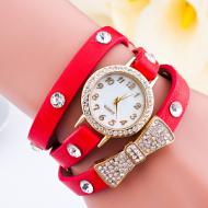 Horloge-goudkleur-strass-strik-rood