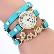 Horloge-goudkleur-strass-Love-Blauw