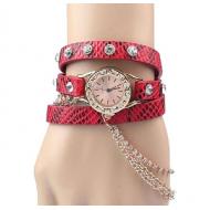 Horloge-goud-ketting-rood