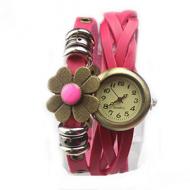Horloge Bloem Brons Roze