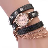 Horloge-goud-ketting-zwart