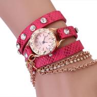 Horloge-goud-ketting-Roze