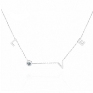 Ketting Stainless zilver Love crystal