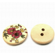 Knoop -Hout  20 mm  met  bloem  #32
