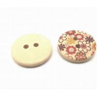Knoop - hout - bloem - #4   20 mm